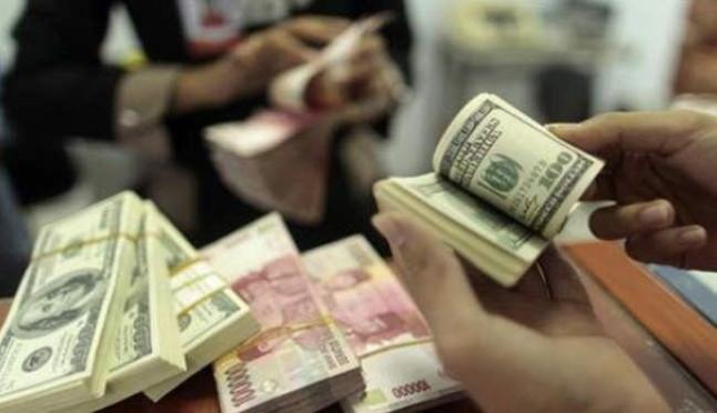 رزمة من الدولارات في شركة لتغيير العملات باندونيسيا